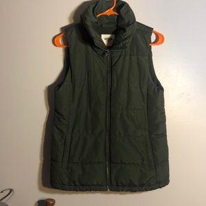 OLD NAVY navy green fleece lined puffer vest